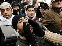 Young Muslims protest against the Jyllands-Posten cartoons