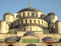 The magnificent domes of Sultan Ahmet Camii as seen from the courtyard