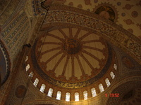 The magnificent central dome of the Sultan Ahmet Camii