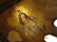 The mosaic of Mary with a baby Jesus