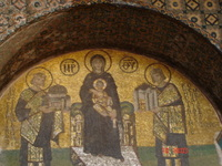 Mary and baby Jesus being presented with the gifts of the two emporers, Constantine (to the right) and Justinian (to the left)