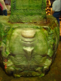 One of the Medusa heads being used to support a column (the picture is meant to be upside down!)