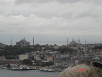 A view of Sultanahmet Camii and Hagia Sofia from the Galata Kulesi