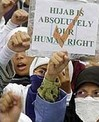 Muslim women protesting in favour of the hijab