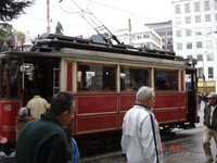 The red tram which runs up Istiklal Caddesi