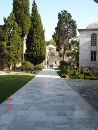 A view down the second courtyard inside the Topkapi Palace