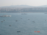 View across the Bosphorous from near the chief physician's lodgings -- in the background you see the Asian side of Istanbul